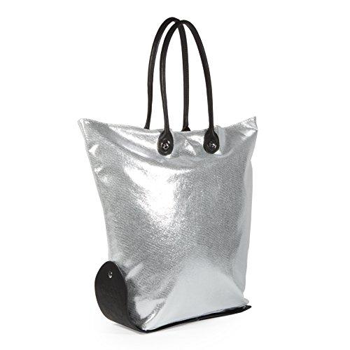 CACO Design Damen One Bag 15-16 Glitter Schultertasche, 43x60x10 cm Silber / Schwarz