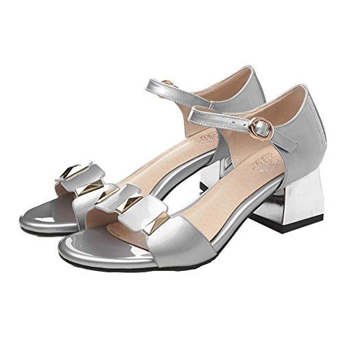 ENMAYER Femmes Bracelet à Cheville Rétro Nubuck Boucles de Soie en Cuir Bloc à Talons Hauts Chaussures à Talons Ouverts Chaussures à Talons épais Argent#134