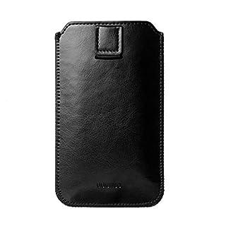 Adento iPhone 7 Plus Schutz-Hülle Leder | Etui-Case aus Kunstleder mit Zieh-Schlaufe | Original Smartphone Design | edel matt Slim (iPhone 7+, Schwarz)