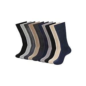 Balenzia Men's Combed Cotton Socks (Black, Navy, L.Grey, D.Grey, Beige, MD-MDP-01) – Pack of 10