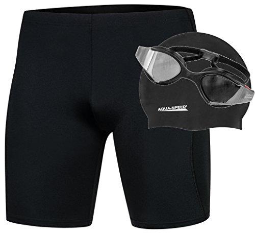 Aqua Speed - SET - Herren Schwimmhose BLAKE REVO + Badekappe RACER + Schwimmbrille BLADE MIRROR | Jammer | UV-Schutz | Chlorresistent | Formbeständig | Wirkungsvoll gegen Muskelermüdung, Größe:XL, Farbe:081. BLAKE SET - Black