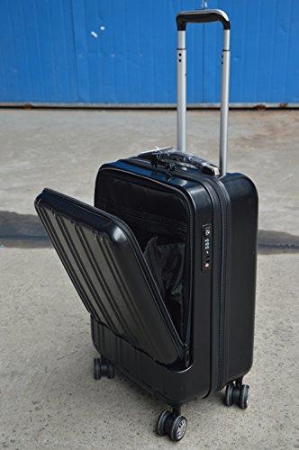 【機内持込みサイズなので出張などに大活躍】フロントオープンポケットスーツケース 【大容量 34L / TSAロック搭載 / 軽量設計 / 耐衝撃性 / 4輪スムーズ走行】 (ブラック)