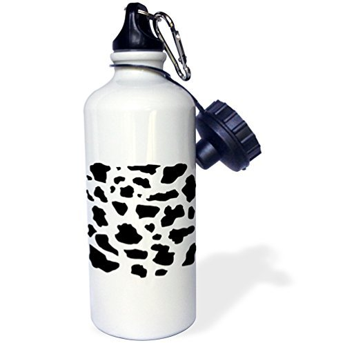 Sports Water Bottle Gift, Black And White Cow Pattern Animal Print Patches Spots Dairy Skin Hide Fur...