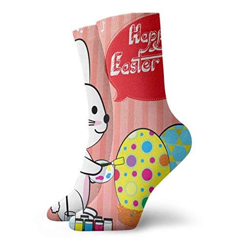 REordernow Kurze Socken für Männer, Frauen Easter Eggs Bunny Mens Printed Funny Novelty Casual Crew Dress Socks For Men Women Yoga Hiking Cycling Running Soccer Sports -