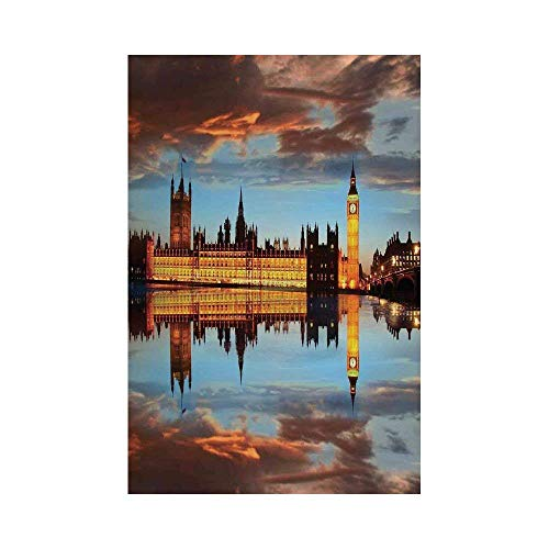 Liumiang Eco-Friendly Manual Custom Garden Flag Demonstration Flag Game Flag,London,Splendent Scene of Big Ben Westminster Cloudy Night Thames River Image,Warm Taupe Orange Yellowarden d¨¦COR -