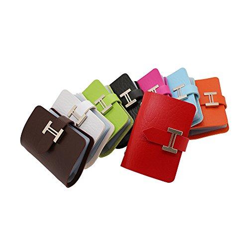 Zhi Jin Leder Namen Business Card Holder Fall Wallet Kreditkarten Organizer Metall Schnalle Travel Geschenk 20Karte Slots rot (Card Wallet Business Leder)