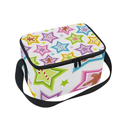 Ahomy Sac à déjeuner Isotherme de Noël avec étoiles pour l'extérieur, l'école, Le Bureau, Les boîtes à Repas pour Enfants et Adultes