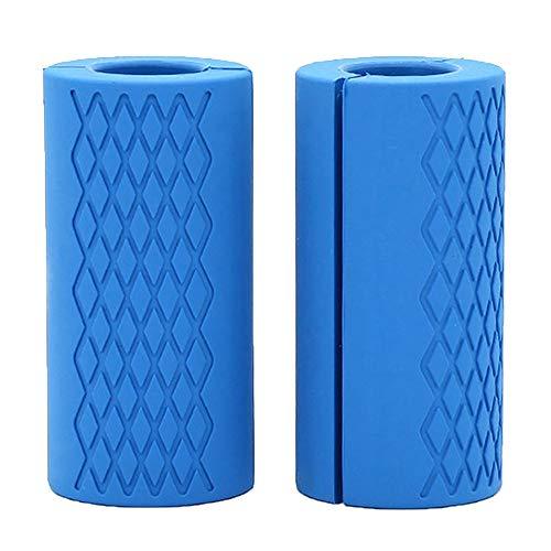 Robustes Outdoor-Zubehör 2 Stück Barbell Fat Grips rutschfeste Silikon-Dickfett-Bargriffe für Barbell Hanteln für Gewichtheben, Training und Muskelaufbau - blau Geeignet für Outdoor-Sportarten