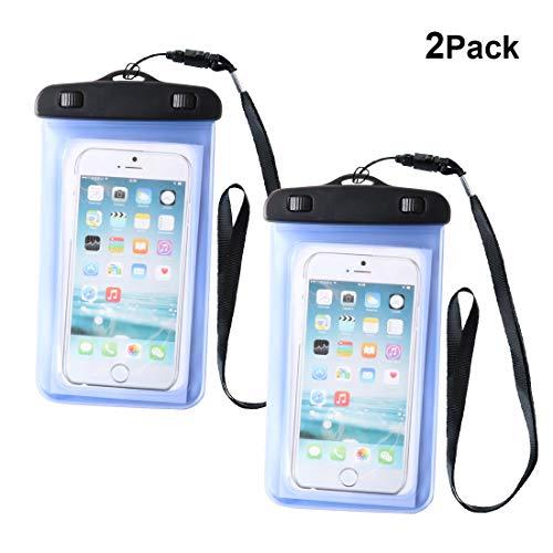 Lively Life 2 Stück Wasserdichte Handyhülle IPX8 Universal Wasserfeste Handytasche für iPhone X 8 7 6 Samsung S9 S8 S7 S6 Huawei P20 Pro Lite P10 P9 P8 Moto Sony Xiaomi HTC usw. bis zu 6 Zoll Blau - Iphone 6 Blau Otterbox-fälle
