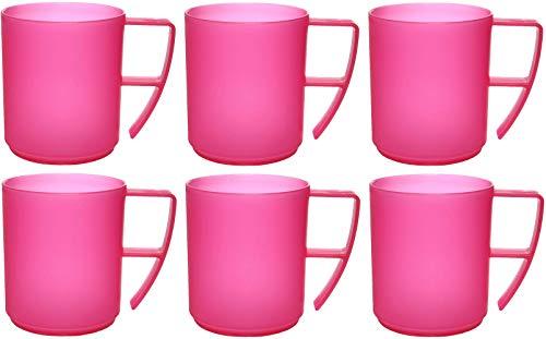 idea-station NEO Kunststoff-Tassen 6 Stück, 350 ml, pink, mehrweg, bruchsicher, Griff, Henkel, Set, Kaffee-Becher, Kaffee-Tasse, Tee-Tasse,...
