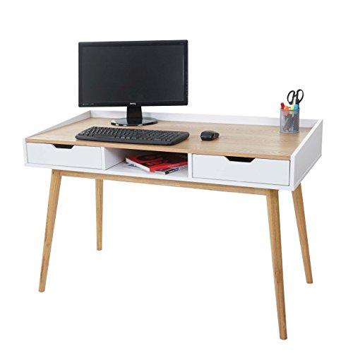 Mendler scrivania tavolo mdf hwc-a70 piallaccio frassino con 2 cassetti 55x120x80cm