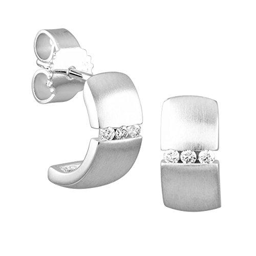 Diamond Line Damen - Ohrstecker 375er Gold 6 Diamanten ca. 0,06 ct., weißgold