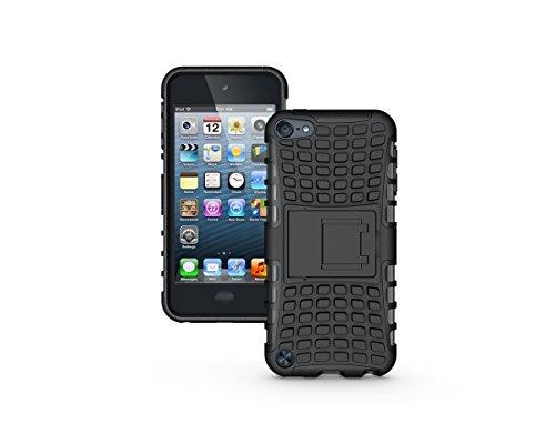 Apple iPod Touch 5 / Touch 6 Kasten, CaseFirst Reifenstreifen Hybrid Combo Shockproof Rüstung Robuste Dual Layer Case Cover mit Kickstand für Apple iPod Touch 5 / Touch 6 (Schwarz)