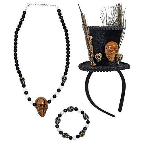 Kostüm Voodoo Priesterin - Lively Moments Halloween Kostümset Voodoo Priesterin mit Minizylinder auf Haarreif, Kette und Armband / Totenkopf Perlenkette