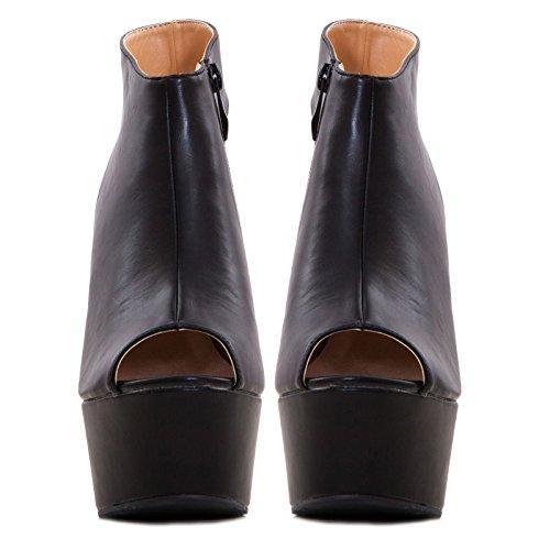 Toocool - Scarpe donna stivali stivaletti zeppa ecopelle sandali tacchi nuovi K1Z826-46 Nero