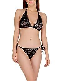 dd517a5da8f18 Urbaano Belo Lace Bikini Bra and Panty Set for Woman - Black
