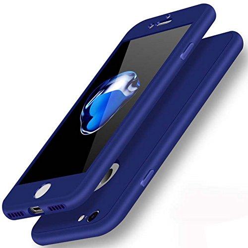 Coque iPhone 6 / 6s protection intégrale en silicone bleu nuit 360° + Verre Trempé Qualité PREMIUM, WELKOO® Coque iPhone 6 en silicone protection intégrale Avant et Arrière + Verre Trempé Qualité PREMIUM, Housse iphone 6s en Silicone bleu nuit, souple, ultra mince, anti choc, anti derapante . Compatible avec l'iphone 6 et 6s. Couleur bleu nuit