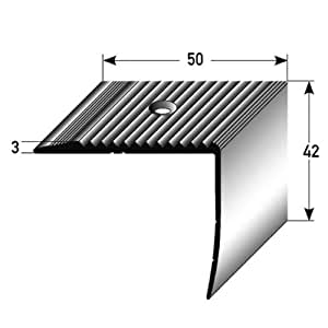 Treppenkantenprofil / Winkelprofil (42 mm x 50 mm) aus Aluminium eloxiert, gebohrt, von Auer Metall