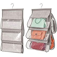 mDesign Juego de 2 organizadores de armarios – Práctico colgador para bolsos – El perfecto organizador