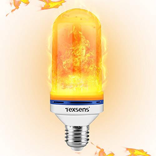 Flamme Glühbirne, Texsens Dekorative Leuchte Flackernde Glühbirne - 2835 LED E27 mit 4 Modi Feuer Effect Birne für Weihnachten, Hochzeit, Party, Festival (MEHRWEG)