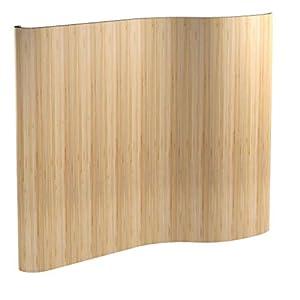 Homestyle4u 302, Raumteiler Bambus, Wellenform Rollbar, Braun Matt, BxH 250×200 cm