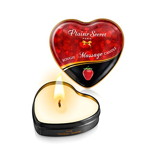 Vela Masaje Erótico Comestible y Afrodisíaca con Aroma Fresa 35 ml. En lata con forma de corazón - Plaisirs Secrets Paris