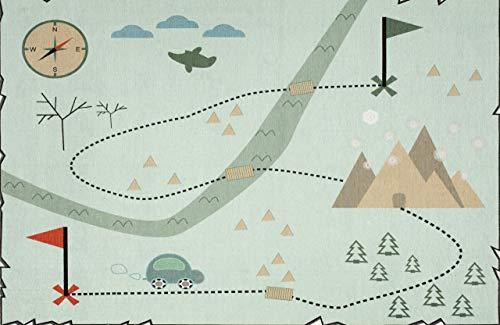 Livone Waschbarer Spielteppich Straßenteppich Kinderteppich Schatzkarte Auto in Mint Weiss Größe 140 x 190 cm -