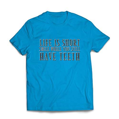 lepni.me Männer T-Shirt Das Leben ist kurz, lächle, während du noch Zähne hast Zitat (XX-Large Blau Mehrfarben)