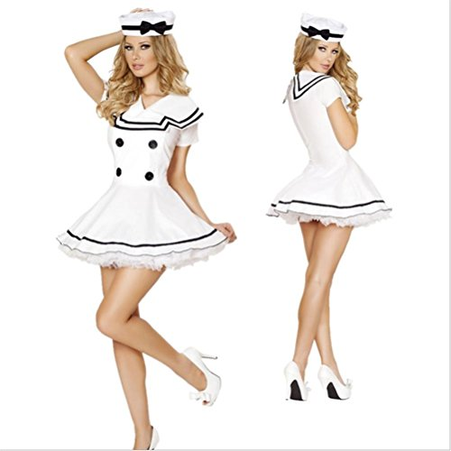 FENGHAO Frauen Sexy White Chiffons Kleid Flugbegleiter Halloween Rollenspiel Dressing up Mini Kleid, - Halloween Flugbegleiter