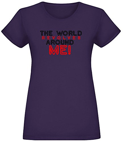 Die Welt dreht Sich um Mich - The World Revolves Around Me T-Shirt Top Short Sleeve Jersey for Women 100% Soft Cotton Womens Clothing Small