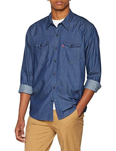 Levi's modern barstow western camicia in jeans, blu (indigo twill rinse 0000), medium uomo