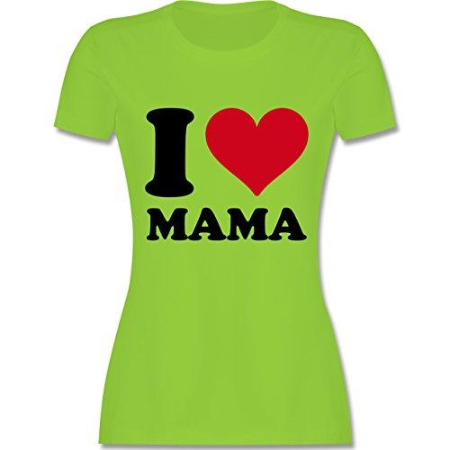 I love - I Love Mama - tailliertes Premium T-Shirt mit Rundhalsausschnitt für Damen Hellgrün