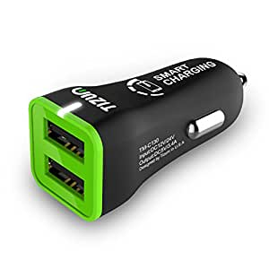 Tizum 2-USB Port 3.4 Amp Car Charger, Worldwide Compatible Smart Charging for iOS, Android (Black)