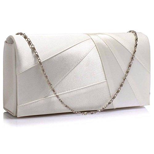 LeahWard Die großen Marken-Handtaschen der Frauen Ladies Clutch für Hochzeit Kleine Umhängetaschen für Urlaub Party CW342 (Elfenbein Unterarmtasche) Elfenbein Unterarmtasche