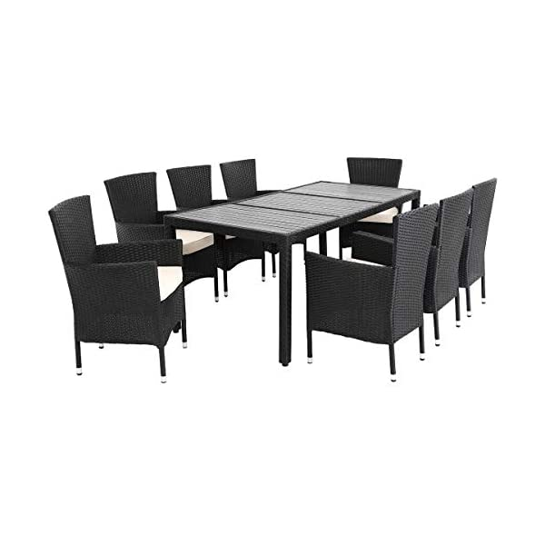 Tremendous Deuba Poly Rattan Garden Dining Table Chairs Set Furniture Wpc Tabletop Black Outdoor Patio Conservatory 4 Seater Onthecornerstone Fun Painted Chair Ideas Images Onthecornerstoneorg