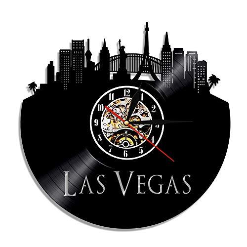 KIrSv Vinyl-Wanduhr 1 Stück Las Vegas Stadt Schallplatte, Vintage Wüstenwanduhr Casino Usa Uu Der Stadt Wanduhr Kunst Der Vereinigten Staaten Geschenk Für Den Reisenden