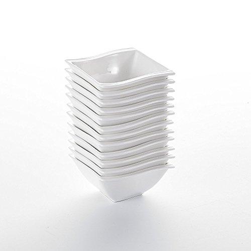 Malacasa, Serie Flora, 12 teilig Set Cremeweiß Porzellan Mini Schüssel Schalen Müslischüsseln Dessertschüsseln je 3,75
