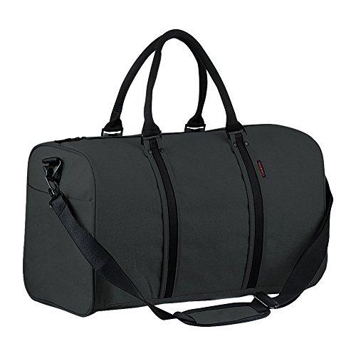 P.KU.VDSL Canvas Weekender, P.KU.VDSL Leder Reisegepäck Reisetasche Duffle Bag Handgepäck Tasche Leather Wasserdicht für Herren Damen (Schwarz Reisetasche)