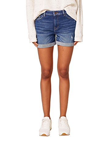 edc by ESPRIT Damen Shorts 028CC1C001, Blau (Blue Dark Wash 901), 29