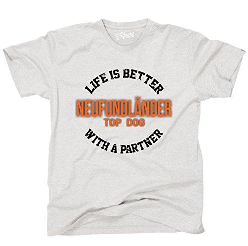 Siviwonder Unisex T-Shirt NEUFUNDLÄNDER - LIFE IS BETTER PARTNER Hunde Ash