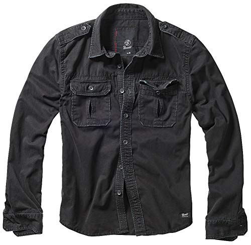 Brandit Vintage Shirt Longsleeve Schwarz 6XL