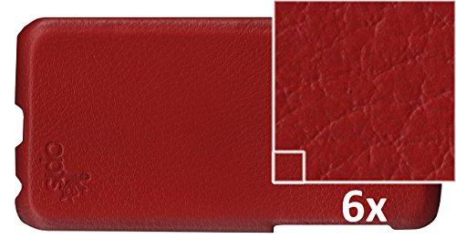 OPIS MOBILE 6 GARDE BACK: custodia (back cover) rivestita in pelle pieno fiore per iPhone 6/6s in diverse varianti (Castagna) Back: Rosso