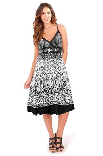 Pistachio Damen Straight Leg Kleid, Geblümt blau blau Small Heart Print - Black White