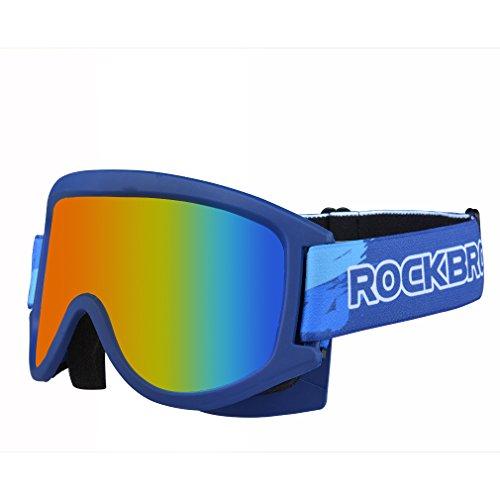ROCKBROS Kinder Skibrille Brille für Skifahren UV Schutz Atmungsaktiv Sanftes Stirnband PC Linse Anti-Explosion Anti-Fog Leicht(Dunkelblau)