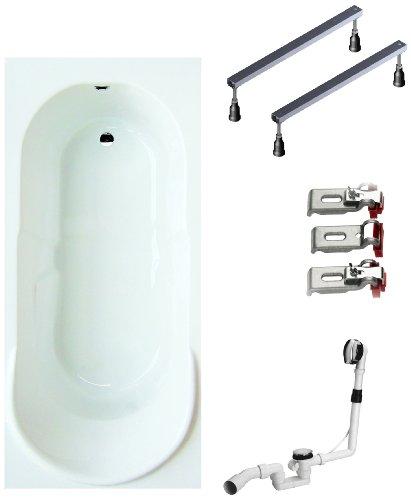 BWSET140CF Badewannen komplett Set inklusiv Acryl Rechteck Fußgestell und Über- Ablaufgarnitur, 170 x 75 cm