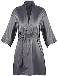 XCXDX Kimono De Mujer con Cinturón, Pijamas De Bata De Baño De Seda Satinada,