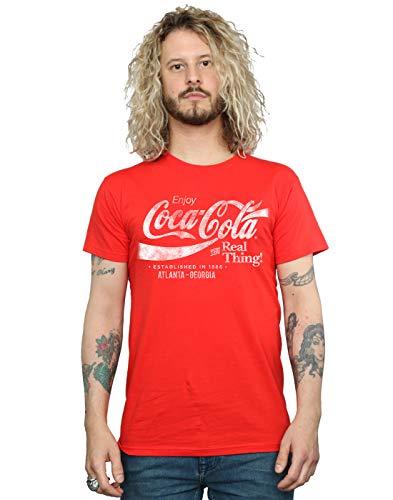 Coca-Cola Hombre Atlanta Georgia Distressed Camiseta Rojo X-Large