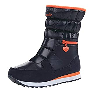 AOOPOO Women's Snow Boots Waterproof Fur Lined Winter Warm Boots Non-Slip Rain Boot Middle Tube Comfy Flats Side Zipper Casual Boots Shoes Outdoor Walking(Orange+Blue,5 UK/37EU)