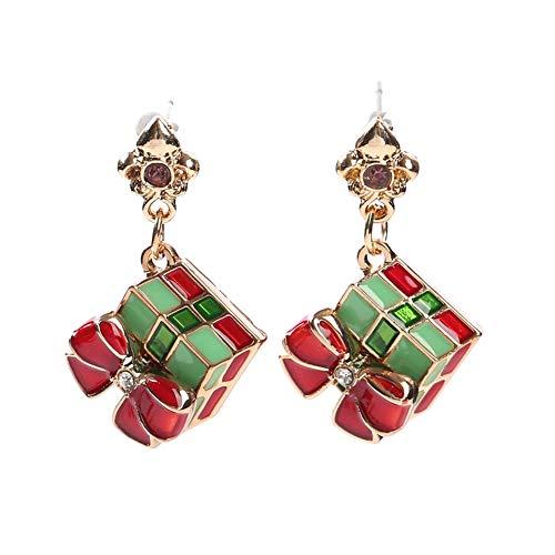 Qinlee Weihnachten Ohrringe Strass Baum Geschenkbox Form Ohrhänger Ohrschmuck Bankette Party Xmas Schmuck für Damen Mädchen