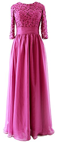 MACloth Vintage Half Sleeves Mother of Bride Dress Lace Formal Evening Gown Fuchsia
